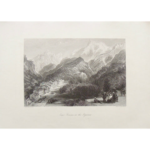Eaux Bonnes, Pyrenees, Pyrénées-Atlantiques, Southwestern France, France, Village, town, gathering, street view, Mountains, Mountain range, horse and buggy, horse drawn carriage, Pyrenees Mountains, Kernot, J. Kernot, Allom, Thomas Allom, T. Allom, Steel engraving, Europe Illustrated, London Printing and Publishing Company, London, 1876-79, 1876, 1879, Sherer, John Sherer, Antique Print, Antique, Prints, Vintage, Vintage Art, Vintage Prints, Art, Wall art, Decor, wall decor, design, engraving, original, a