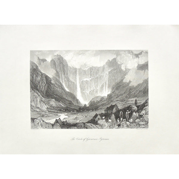 Circle of Gavarnie, Circle, Gavarnie, Pyrenees, Pyrenees Mountains, Mountains, Mountain range, waterfalls, town, village, goats, goat herders, herding, distant view, Hautes-Pyrénées, Southwestern France, France, J. C. Bently, Bently, Allom, Thomas Allom, T. Allom, Steel engraving, Europe Illustrated, London Printing and Publishing Company, London, 1876-79, 1876, 1879, Sherer, John Sherer, Antique Print, Antique, Prints, Vintage, Vintage Art, Vintage Prints, Art, Wall art, Decor, wall decor, design, engravin