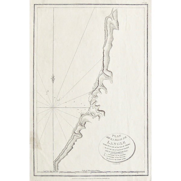 Plan, Plan of La Baie de Langle, Baie de Langle, Baie, Langle, Isle of Tchoka, Tchoka, Anchorage, Astrolabe, Boussole, Map, Maps, Mapping, Chart, Charts, Charting, G.G. & J. Robinson, Paternoster Row, London, Village, Coast, Coastline, Russia, Antique Print, Antique, Prints, Vintage, Vintage Art, Vintage Prints, Art, Wall art, Decor, wall decor, design, engraving, original, authentic, Collectors, Collectable, rare books, rare, book, printmaking, print, printers,