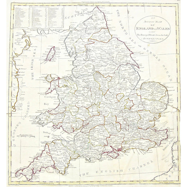 Map Of England Roads.An Accurate Map Of England And Wales With The Principal Roads From The Best Authorities S3 52