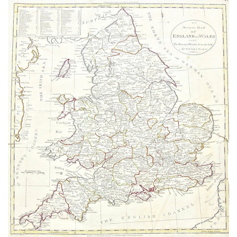 Accurate Map of England and Wales, Accurate, Map, Maps, Mapping, Chart, Charts, Charting, England, Wales, Scotland, North Sea, German Ocean, British Sea, St. George's Channel, Cardigan Bay, Bristol Channel, English Channel, Straits of Dover, Ireland, France, Isle of Man, Irish Sea, Isle of Wight, Strat point, Humber River, The Wash, Anglesea Island, Anglesea, 1785, C. Dilly, Dilly, G. Robinson, Robinson, Guthrie's New System of Geography, Guthrie, Guthrie's, New System of Geography, Copperplate, Copper, Eng