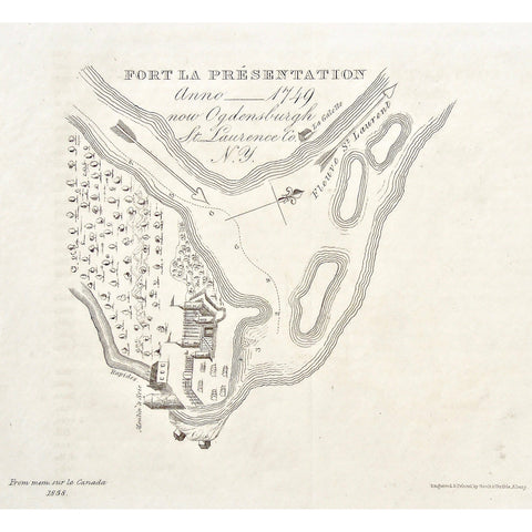 Fort La Présentation, 1749, Ogdensburgh, St. Lawrence, Fleuve St. Laurent, St. Lawrence River, Rapids, La Galette, Moulin a Seie, 1858, Mem. sur le Canada, Memoires sur le Canada, Map, Maps, mapping, Chart, Charts, Charting, Gavit & Duthie, Gavit and Duthie, Albany, Antique Print, Antique Prints, Prints, Map making, engraving, original, rare, unique, rare books, rare prints, vintage, home decor, interior decor, gallery wall, inspiration, town, village, plans, River, River way, Fort, Forts, Battle, Army,