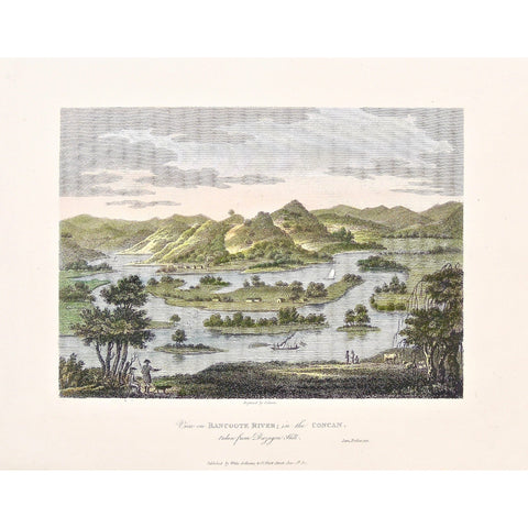 View, Bancoote, Bancoote River, River, River View, Concan, Duzagen Hill, India, Distant Views, by the water, James Forbes, Forbes, Oriental Memoirs, Oriental, Memoirs, Seventeen Years Residence in India, White, Cochrane & Co., Horace's Head, Fleet Street, London, 1812, 1813, 1771, Storer, Antique Print, Antique, Prints, Vintage Prints, Vintage, Collector, Collectable, Original, Unique, Rare Map, Rare, Rare books, engravings, engraving, steel engraving, art history, history, historical, Home decor, wall art,