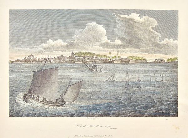 Bombay, 1773, View of Bombay, Bombay from the water, boats, sailing, sailboats, Ships, Coastal town, on the water, India, James Forbes, Forbes, Oriental Memoirs, Oriental, Memoirs, Seventeen Years Residence in India, White, Cochrane & Co., Horace's Head, Fleet Street, London, 1812, 1813, Shury, Bensley, Bolt Court, Antique Print, Antique, Prints, Vintage Prints, Vintage, Collector, Collectable, Original, Unique, Rare Map, Rare, Rare books, engravings, engraving, steel engraving, art history, history, histor