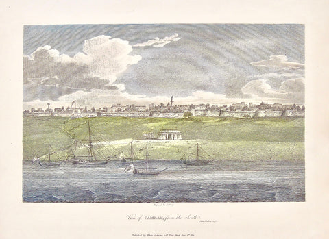 View of Cambay, Cambay, View, from the south, Ships, City view, boats, shiping, post along the water, walled city, India, James Forbes, Forbes, Oriental Memoirs, Oriental, Memoirs, Seventeen Years Residence in India, White, Cochrane & Co., Horace's Head, Fleet Street, London, 1812, 1813, Shury, Bensley, Bolt Court, Steel engraving, 1775, Antique Print, Antique, Prints, Vintage Prints, Vintage, Collector, Collectable, Original, Unique, Rare Map, Rare, Rare books, engravings, engraving, steel engraving, art h