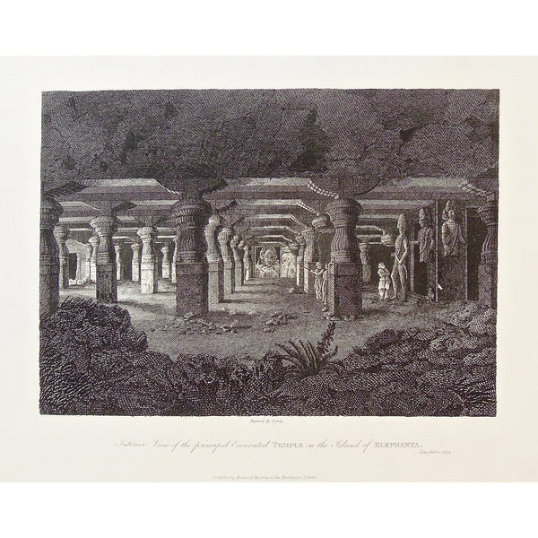 Interior View, Principal Excavated Temple, Excavated Temple, Temple, Temple on the Island of Elephanta, Island of Elephanta, Elephanta, Island, India, Indian, Indian Temple, Indian architecture, ancient architecture, Indian gods, Gods, sculptures, religious art, religious sculptures, pillars, temple pillars, James Forbes, Forbes, Eliza Rosée, Countess De Montalembert, Oriental Memoirs, Narrative of Seventeen Years Residence in India, Bentley, 8 New Burlington Street, London, Greig, Nichols & Son, 25 Parlia