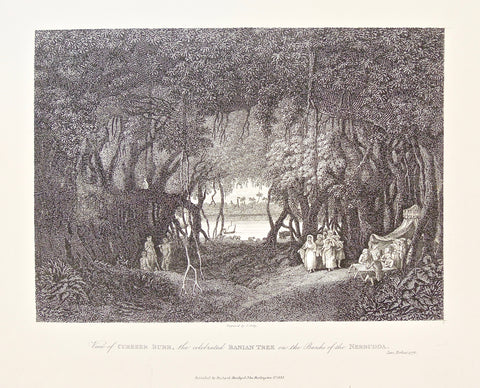 View, Cubbeer burr, Banian Tree, Banyan Tree, Trees, Banks of the Nerbudda, Banks, Nerbudda, ladies, tents, gathering, by the water, under the trees, India, Indian, James Forbes, Forbes, Eliza Rosée, Countess De Montalembert, Oriental Memoirs, Narrative of Seventeen Years Residence in India, Bentley, 8 New Burlington Street, London, Shury, Nichols & Son, 25 Parliament Street, 1778, 1834, Steel engraving, Antique Print, Antique, Prints, Vintage Prints, Vintage, Collector, Collectable, Original, Unique, Rare