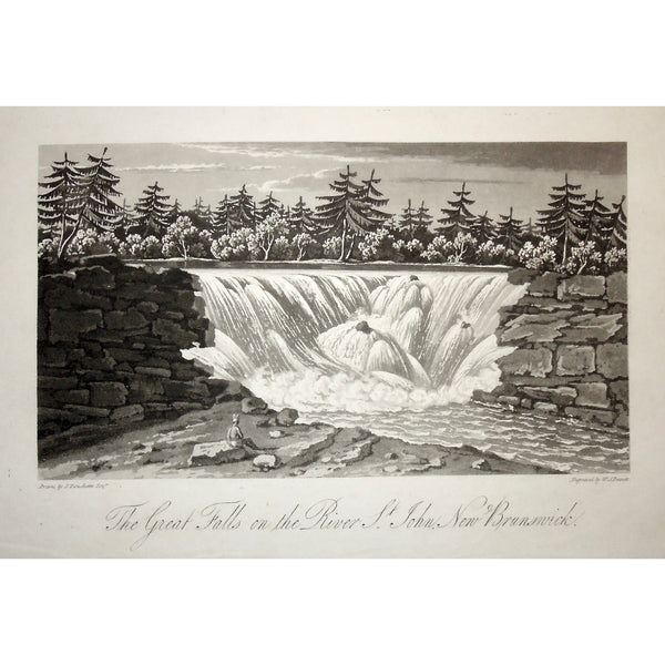Great Falls, Great, Falls, River St. John, St. John's River, St. John's, New Brunswick, Waterfall, Falls, native, waterway, A Topographical Description of the Province of Lower Canada, Lower Canada, Joseph Bouchette, Bouchette, 1815, W. Faden, Faden, W. J. Bennett, Bennett, Charing Cross, London, steel engraving, black and white, Antique Prints, Antiques, Prints, Old Art, Engraving, Canadiana, History, Art, Artwork, Decor, Home decor,