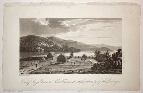 View of Long's Farm, View, Long's Farm, Farm, Lake, Temiscouata, Lac Temiscouata, Extremity, Portage, Cattle, Cows, Farming, Farmer, pen, cow pen, fencing, riverfront, A Topographical Description of the Province of Lower Canada, Lower Canada, Joseph Bouchette, Bouchette, 1815, W. Faden, Faden, W. J. Bennett, Bennett, Charing Cross, London, steel engraving, black and white, Antique Prints, Vintage, Decor, Wall, art, Design, Collectable, Original,
