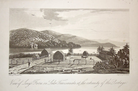 View of Long's Farm, View, Long's Farm, Farm, Lake, Temiscouata, Lac Temiscouata, Extremity, Portage, Cattle, Cows, Farming, Farmer, pen, cow pen, fencing, riverfront, A Topographical Description of the Province of Lower Canada, Lower Canada, Joseph Bouchette, Bouchette, 1815, W. Faden, Faden, W. J. Bennett, Bennett, Charing Cross, London, steel engraving, black and white, Antique, Prints, Decor, For Sale, Original, Vintage, Collector, Engraving, Steel Engraving, Art,