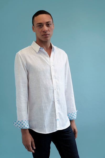 Karnataka White Linen Shirt by Tobias Clothing. Discover all menswear at The Good Place