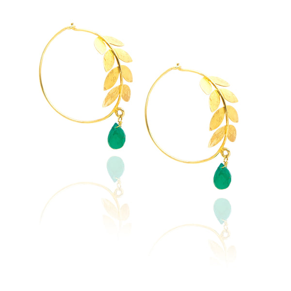 Gold Plated Leaf Hoop Earrings with Green Onyx