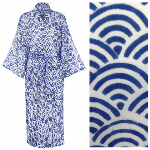 Cotton Dressing Gown Kimono - Rainbow Blue