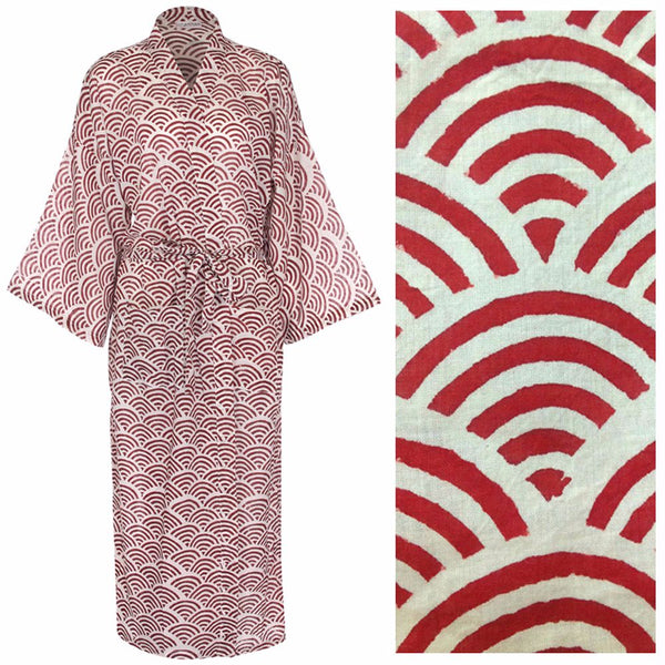 Cotton Dressing Gown Kimono - Rainbow Red