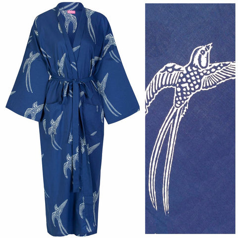 Cotton Dressing Gown Kimono - Long Tailed Bird White on Dark Blue