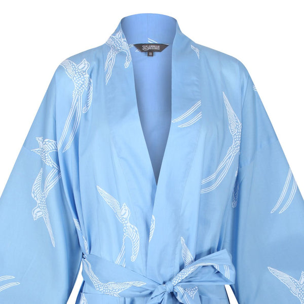 Cotton Dressing Gown Kimono - Long Tailed Bird White on Powder Blue