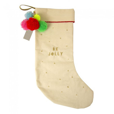 Be Jolly Pom Pom Stocking by Meri Meri. Shop Christmas decorations at The Good Place.