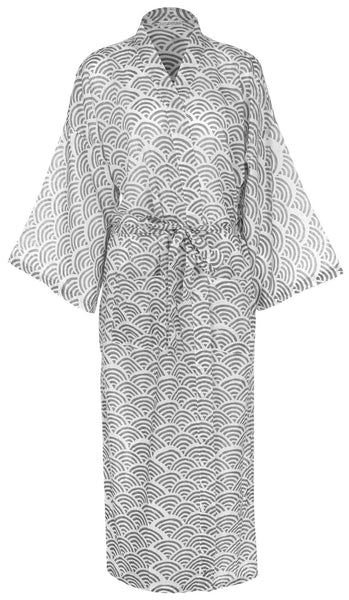 Cotton Dressing Gown Kimono - Rainbow Grey
