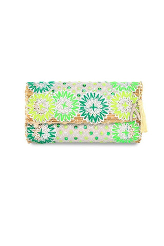 Lilly Straw Clutch by Abury Collection. Handmade in Marrakesh, each piece is embroidered with natural wool, sequins and straw.