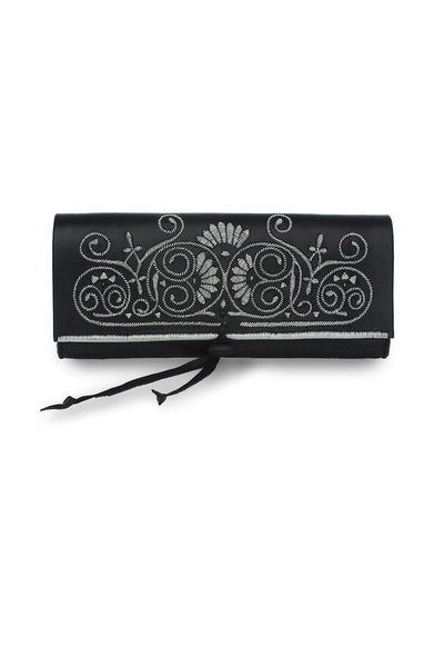 Black & Silver Leather Embroidered Clutch Bag