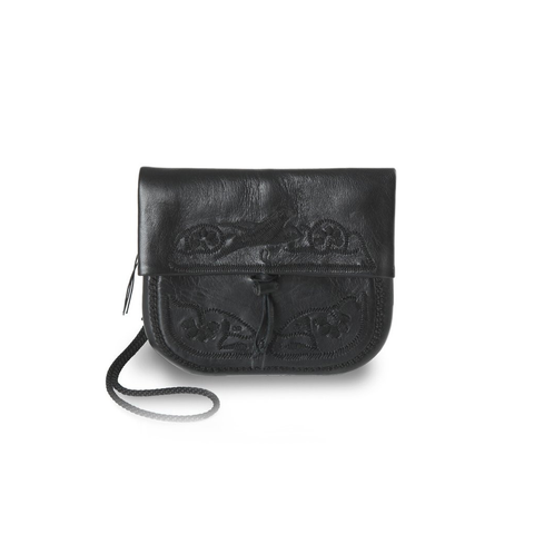 Black Leather Embroidered Mini Berber Bag