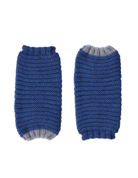 Ally Bee Cashmere Knitted Cuffs – Fingerless Gloves, Cradle to Cradle® Yarn, blue