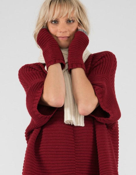 Cashmere Knitted Cuffs – Fingerless Gloves, Cradle to Cradle® Yarn, Red