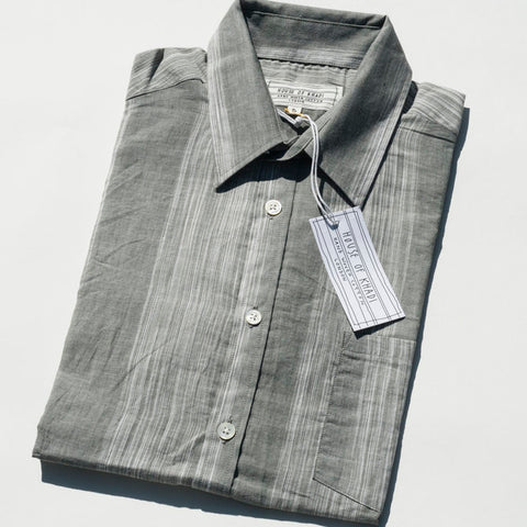 House of Khadi, Grey & White Stripe Luxury Khadi Cotton Shirt