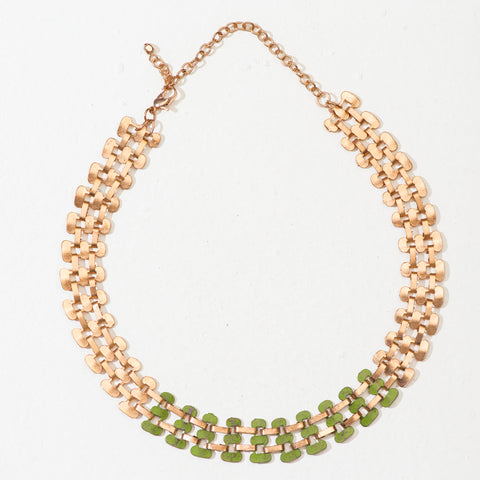 Vaatika Choker Necklace - Rose Gold & Green