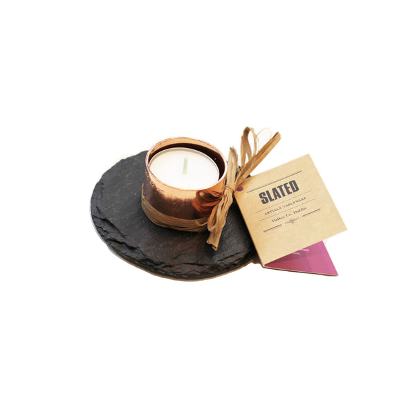 Copper & Slate Round Candle Holder