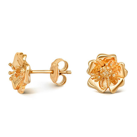 Gold Plated Wild Rose Stud Earrings