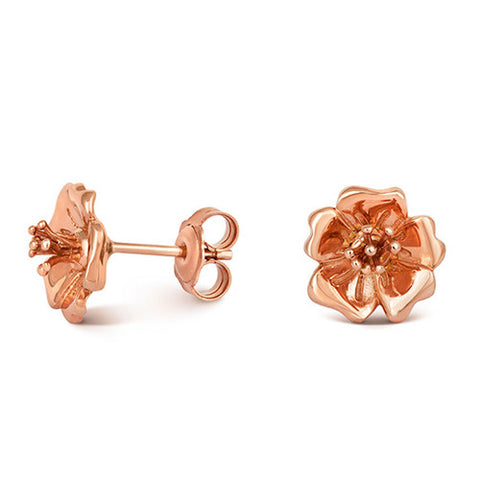 Rose Gold Plated Wild Rose Stud Earrings