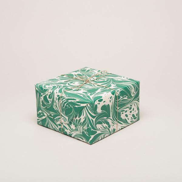 'Fantasy' Emerald Green Marbled Paper