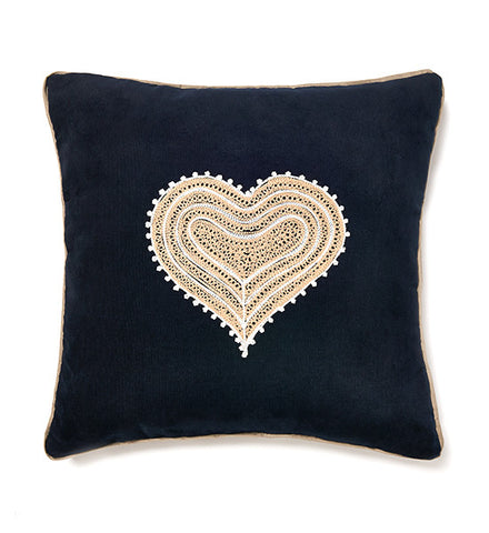 Mehendi Heart Dark Blue Cushion