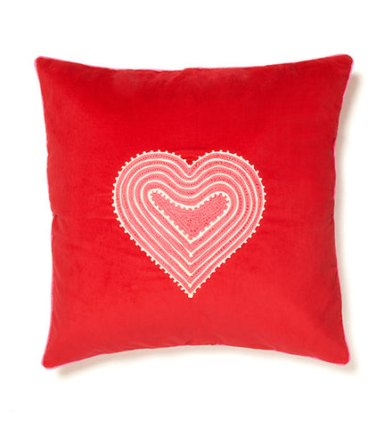 Mehendi Heart Red Cushion