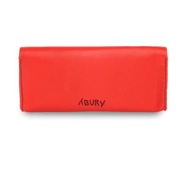 Red & Dark Red Leather Embroidered Clutch Bag