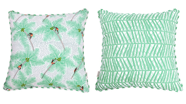 Mint Coconut Palm Pickers Cushion Cover 45x45
