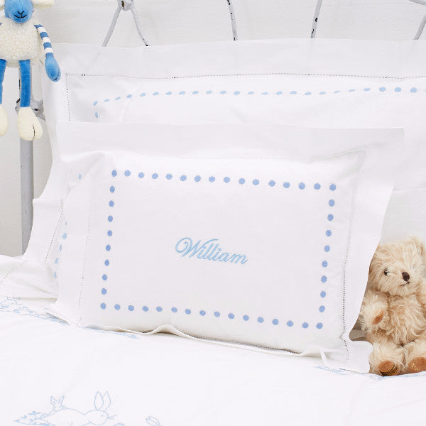 Personalised Blue Dots Baby Pillowcase