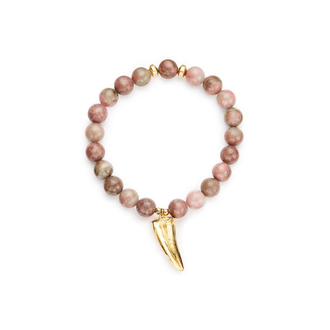 Tarangire Pink Stretch Bracelet with Crocodile Tooth