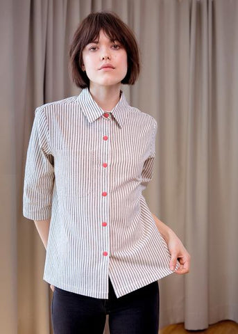 Cee Cee shirt black stripe with red buttons by Komana