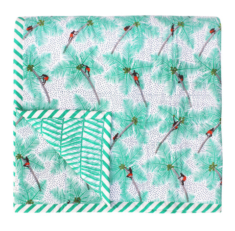 White Mint Coconut Palm Pickers Baby Quilt