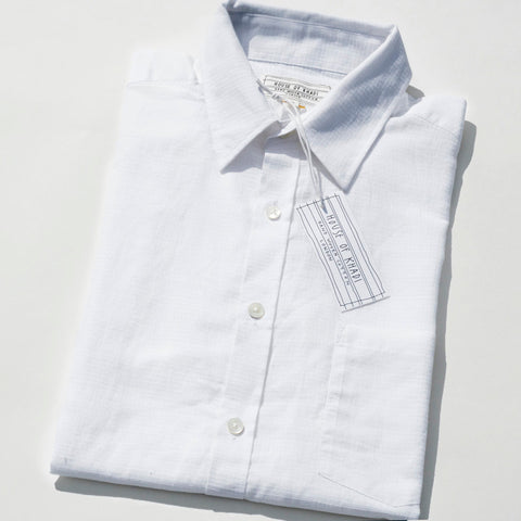 House of Khadi, White Criss-cross Luxury Khadi Cotton Shirt