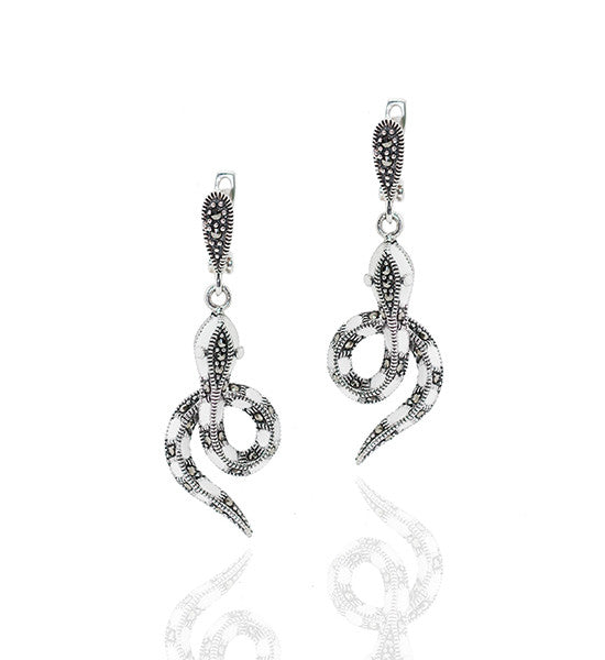 Silver Snake Earrings with Marcasite and White Shell