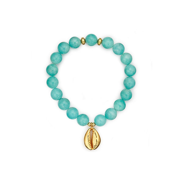 Zanzibar Blue Stretch Bracelet with Cowrie Shell Pendant