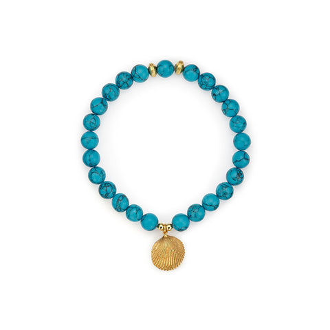 Zanzibar Blue Stretch Bracelet with Clam Pendant