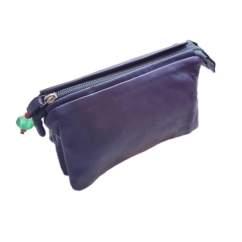 Adis 3 compartment pouch made from Nappa leather in a rich purple. Made by Sammy Ethiopia