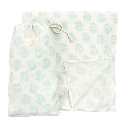 Small Paisley Muslin & Bag - Samoa Green