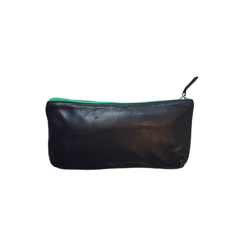 Sammy Ethopia Adis Nappa Leather Pouch in jet black and bright green zip.