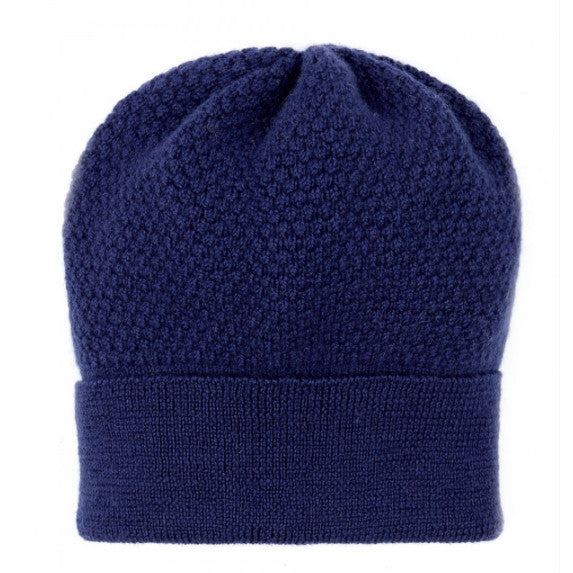 Ally Bee Beanie Hat Wool Navy 'Bramble Bee' 1