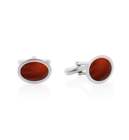 Hessonite Garnet and Silver Cufflinks